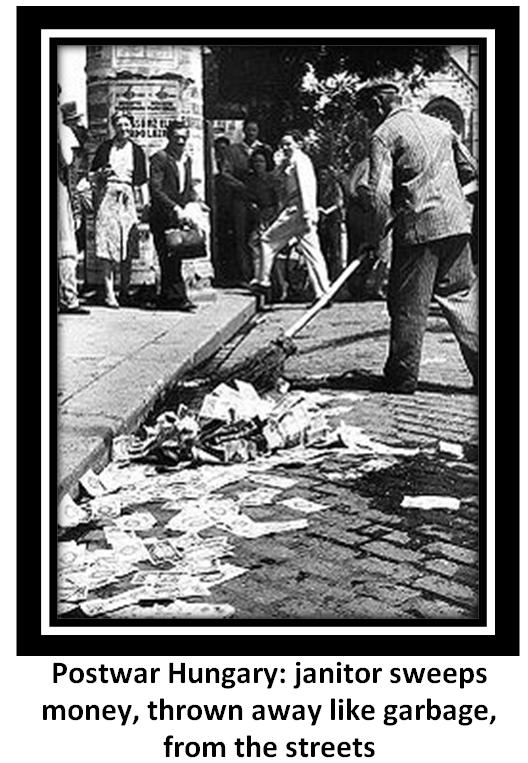 Postwar Hungary: janitor sweeps money, thrown away like garbage, from the streets [Postwar Hungarian newspapers]