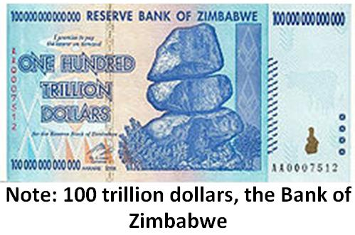 Note: 100 trillion dollars, the Bank of Zimbabwe [The Reserve Bank of Zimbabwe]