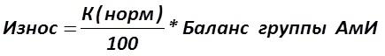 Сумма амортизации (износа) при нелинейном методе исчисляется как (2): [Александр Шеметев (Alexander A. Shemetev)]