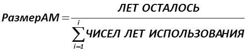 Способ списания стоимости по сумме чисел лет полезного использования объекта использует следующую формулу для начисления амортизации (5): [Александр Шеметев (Alexander A. Shemetev)]