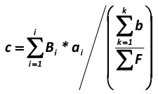 The third step is to calculate the coefficient (c), which shows the average dependence per a single average score factor for a company in the market from price changes (P). It is calculated as follows for the i-th company in the market segment (by the formula, developed by the author of this paper): [Alexander Shemetev]